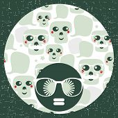 Seamless pattern with funny skulls.