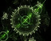 stock photo of tick tock  - Greenish fractal on black background - JPG