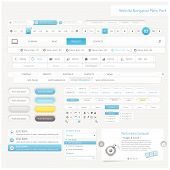 Collection of website template navigation UI Infographics elements with icons