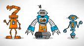 Three vintage cartoon robot