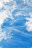 foto of stratus  - light stratus clouds in blue september sky - JPG