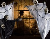 stock photo of drakula  - the Hallowen dark night with four skeleton - JPG