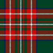 Tartan traditional checkered british fabric seamless pattern, green and red, vector