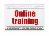 Education news concept: newspaper headline Online Training