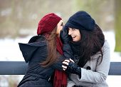 Gossip Girls On A Cold Winter Outdoors