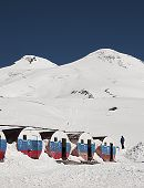 View of mount Elbrus from the mountain shelter Bochky