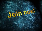 Social network concept: Join now! on digital background
