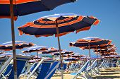 Colorful beach umbrellas and chairs on beautiful beach in Marina di Pisa, Tuscany in Italy