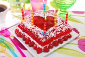 Raspberry Jelly Cake With Birthday Candles