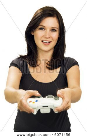 poster of Smiling Girl Playing Video Game