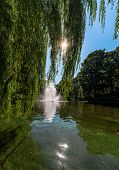 Fountain In Riga Canal, That Flows Through Bastion Park (bastejkalns). Latvia