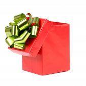 Opened red gift box with bow.