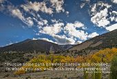 California's Eastern Sierra Mountains in the fall season with a quote by Henry David Thoreau. Henry