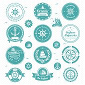 stock photo of shipbuilding  - A vector illustration of a set of nautical icons - JPG