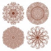 Set Of Four Hand Drawn Ethnic Circular Mehandi Ornaments