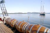Water Barrels On Ship Deck