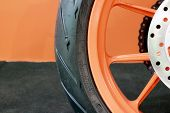 Motorcycle Tyre And Rim Closeup