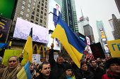 Ukranian flags waving in Times Square