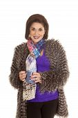 Woman Fur Coat Hold Mug Both Hands Smile