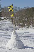 Snowman With Golf Flag