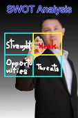 picture of swot analysis  - Businessman is writing a concept marketing plan - JPG