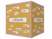 Capitalism 3D Cube Corkboard Word Concept