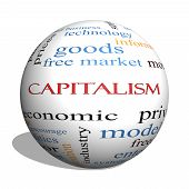 Capitalism 3D Sphere Word Cloud Concept