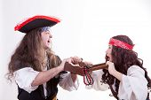 Two Pirates Fighting For Box Of Tresure