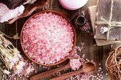 stock photo of salt-bowl  - Oriental spa set with pink sea salt - JPG