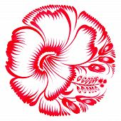 Floral Decorative Ornament Red Hibiscus