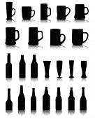 stock photo of mug shot  - Silhouettes and shadows of wine glasses and beer mugs - JPG