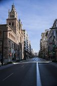 Gran Via With Church Of Sacred Heart Of Jesus At Th Letf And Monument To Isabel La Catolica In The B