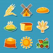 Cereal cultivation and farming sticker icon set.