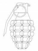pic of grenades  - A hand grenade outline isolated on a white background - JPG