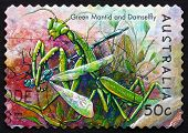 Postage Stamp Australia 2003 Green Mantis And Damselfly
