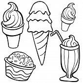 ice cream Food Items line art
