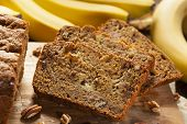 foto of fresh slice bread  - Homemade Banana Nut Bread Cut into Slices - JPG