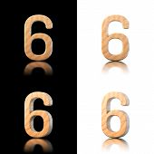 Three Dimensional Wooden Number 6. Isolated On White And Black.