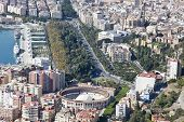 Aerial View Of Malaga Downtown With Its Bull Ring.