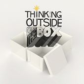 Open Box 3D And Design Word Thinking Outside Of The Box As Concept