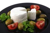 Soft Feta Cheese Served With Tomato poster