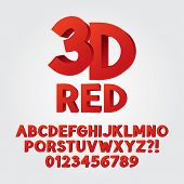 Abstract Red 3D Plastic Alphabet