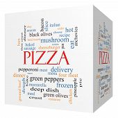 Pizza 3D Cube Word Cloud Concept
