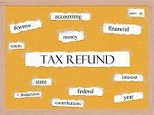 Tax Refund Corkboard Word Concept