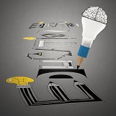 Pencil Brain Lightbulb Drawing Design Word Education Paper  As Concept