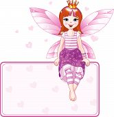 pic of young girls  - Little pink fairy sitting on place card - JPG