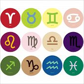 stock photo of pisces horoscope icon  - Set of colorful horoscope  - JPG