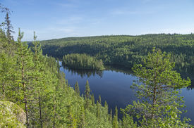 picture of murmansk  - Landscape with an island. Kutsayoki river Murmansk region Russia. ** Note: Soft Focus at 100%, best at smaller sizes - JPG