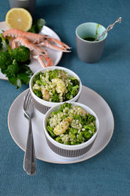 pic of norway lobster  - Broccoli salad with pearl barley and Norway lobster - JPG