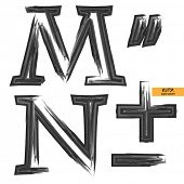 art sketched set of vector grunge character classic black fonts, uppercase symbols, letters M, N and